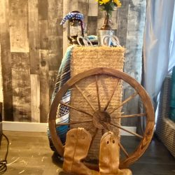 Western decor with an artificial hay bale